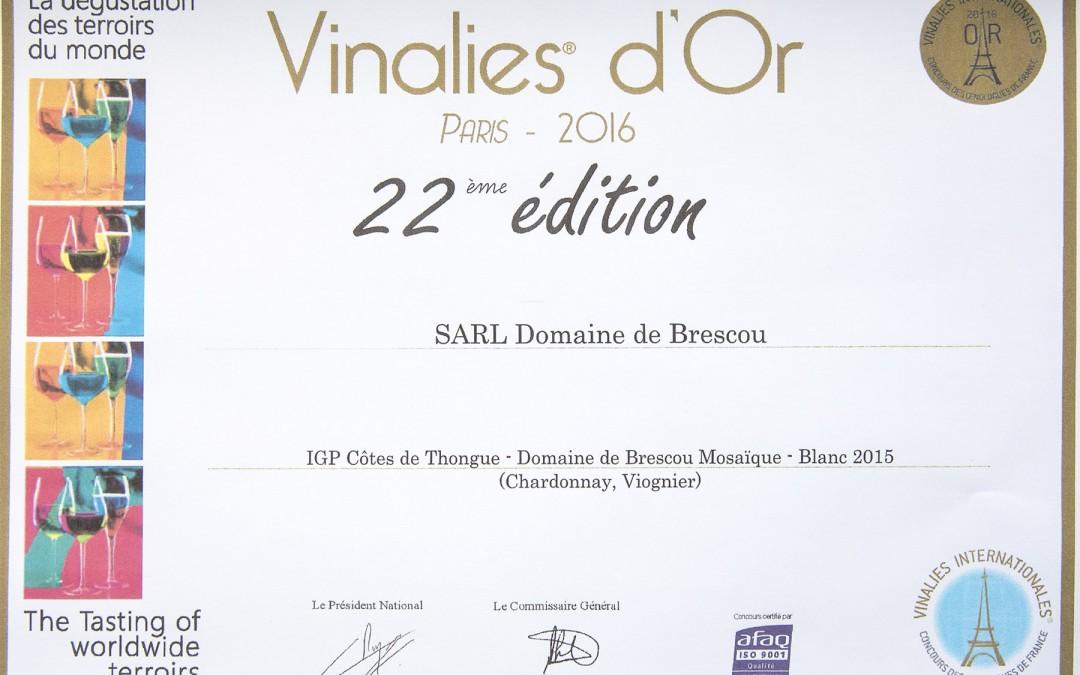 Notre cuvée Mosaique blanc 2015 Médaille d'or Vinalies Internationales