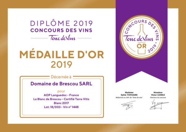 aoc languedoc blanc médaille concours